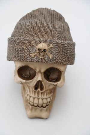 Skull Money Box Fishermans Cap Brown Grey