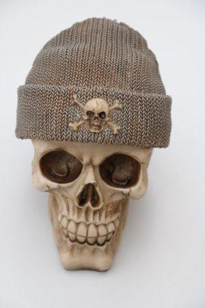 Skull Money Box Fishermans Cap Brown Grey