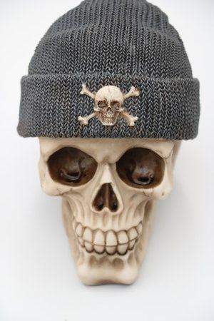 Skull Money-Box Fishermans Cap Grey