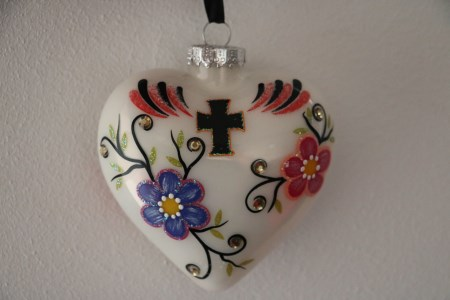 White Heart Christmas Ornament